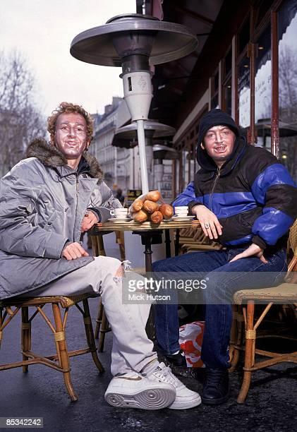 Photo of Guy Manuel de HOMEM CHRISTO and Thomas BANGALTER and DAFT PUNK Group portrait of Thomas Bangalter and GuyManuel de HomenChristo mask cafe...