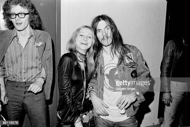 Photo of HAWKWIND and LEMMY Lemmy Hawkwind era posed with his French girlfriend of the time