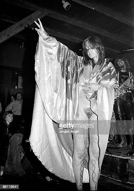 Photo of HAWKWIND and STACIA; Stacia, performing live onstage with Hawkwind - dancing, naked, body paint