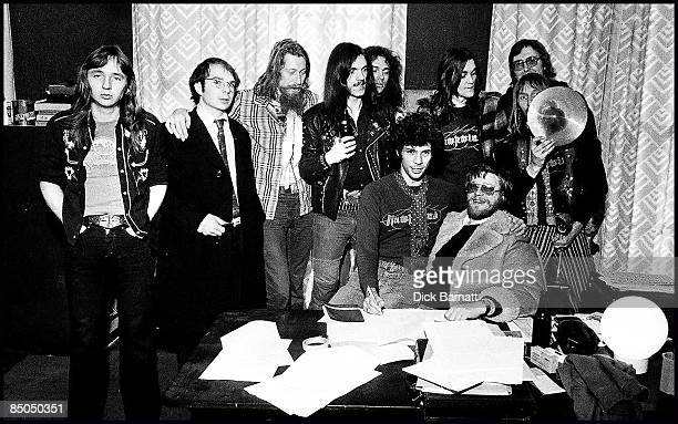 Photo of HAWKWIND Record deal signing 1976