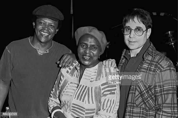 Photo of Hugh MASEKELA and Miriam MAKEBA and Paul SIMON LR Hugh Masekela Miriam Makeba Paul Simon