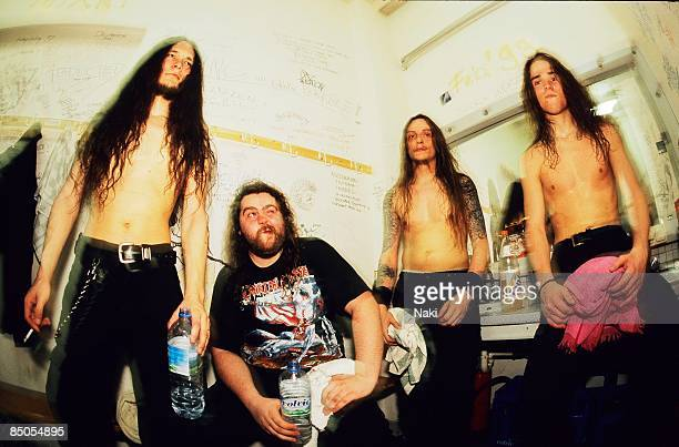 Photo of HYPOCRISY posed group shot backstage in drawing room