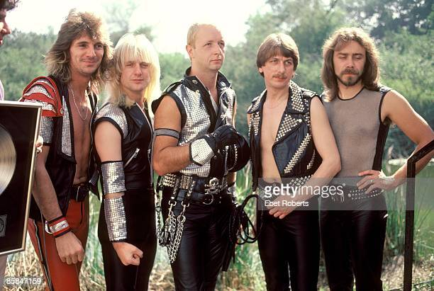 Photo of Ian HILL and JUDAS PRIEST and Glenn TIPTON and KK DOWNING and Rob HALFORD and Dave HOLLAND LR Glenn Tipton KK Downing Rob Halford Dave...