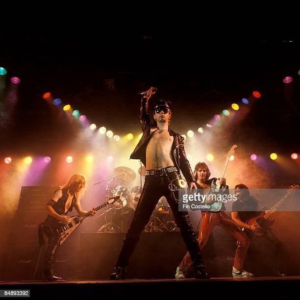 Photo of Ian HILL and JUDAS PRIEST and Rob HALFORD and KK DOWNING and Glenn TIPTON LR KK Downing Rob Halford Glenn Tipton Ian Hill performing on...