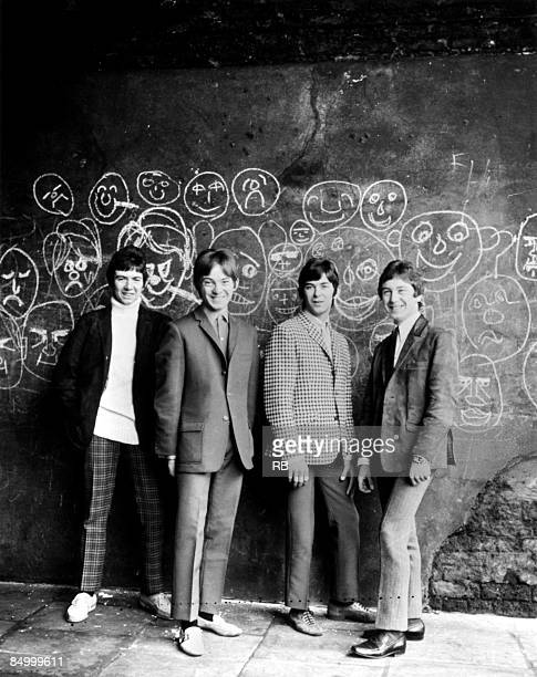 Photo of Ian McLAGAN and Steve MARRIOTT and SMALL FACES and Ronnie LANE and Kenney JONES; L-R: Ronnie Lane, Steve Marriott, Ian McLagan, Kenney Jones...