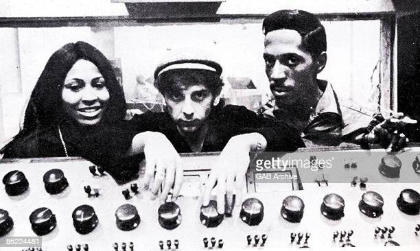 Photo of Ike & Tina TURNER and Tina TURNER and Ike TURNER and Phil SPECTOR; with Ike Turner & Tina Turner - posed, behind mixing desk
