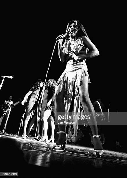 Photo of Ike Tina TURNER and Tina TURNER Ike Tina Turner era with Ikettes behind performing live onstage