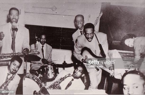 Photo of Ike TURNER Ike TURNER's Kings Of Rhythm l to r Billy Gayles Raymond Hill Eugene Washington Eddie Jones Ike Turner Jessie Knight jr Annie Mae...