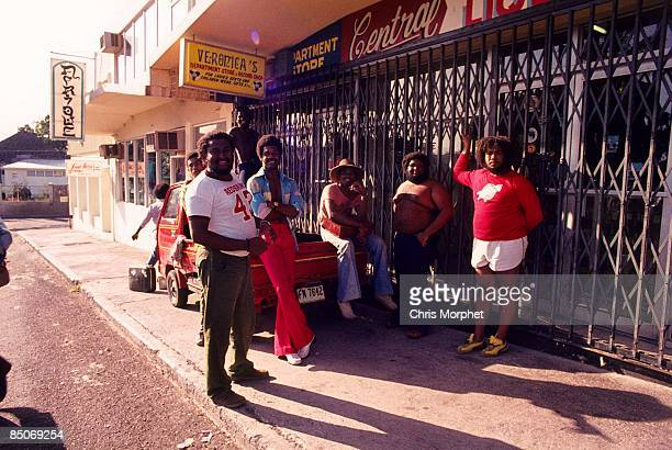 Photo of INNER CIRCLE posed on the streets of Kingston for Harcourt Film 'Roots Rock Reggae'