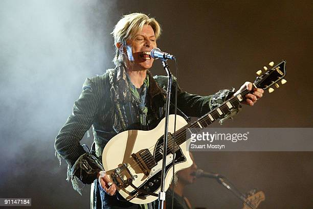 Photo of IOW FEST/STUART MOSTYN, David Bowie performs live on stage and headlines at Isle of Wight Festival Sunday 13 June 2004