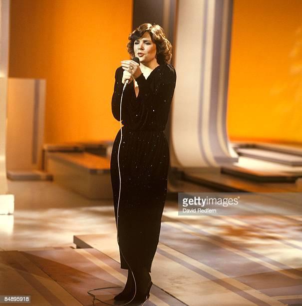 Photo of Irish singer DANA performing live in a Television Studio circa 1970