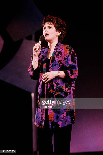 Photo of Irish singer DANA performing live on stage in 1989