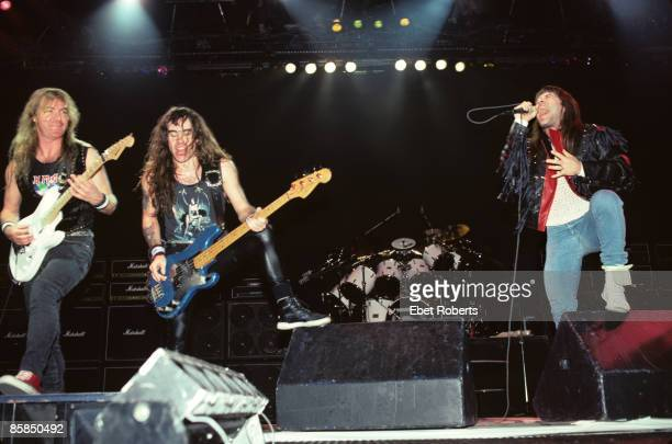 ARENA Photo of IRON MAIDEN and Bruce DICKINSON and Dave MURRAY and Steve HARRIS LR Dave Murray Steve Harris Bruce Dickinson performing live onstage...