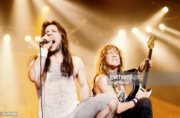 Photo of IRON MAIDEN and Bruce DICKINSON and Janick GERS, Bruce Dickinson and Janick Gers performing on stage