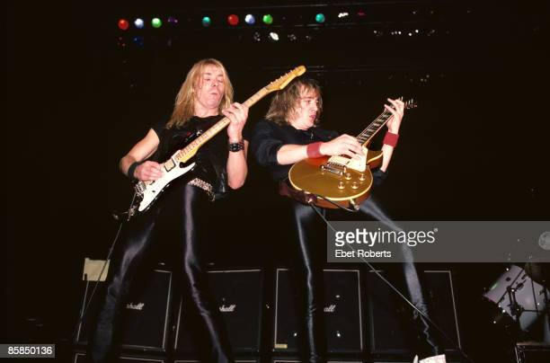 GARDEN Photo of IRON MAIDEN and Dave MURRAY and Adrian SMITH Dave Murray and Adrian Smith performing live onstage