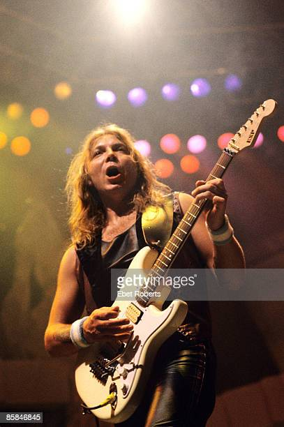 Photo of IRON MAIDEN and Dave MURRAY, Dave Murray performing live onstage on the Seventh Tour of a Seventh Tour, playing ESP guitar