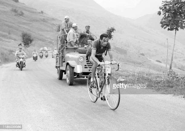 Photo of Italian cyclist Fausto Coppi taken during the climb of Alpe D'Huez tenth stage of the Tour de France in 1952