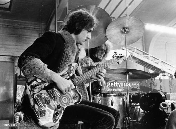 Photo of Jack BRUCE and CREAM Jack Bruce Ginger Baker performing live shooting the film 'It was a Saturday Night' playing Fender Bass VI guitar