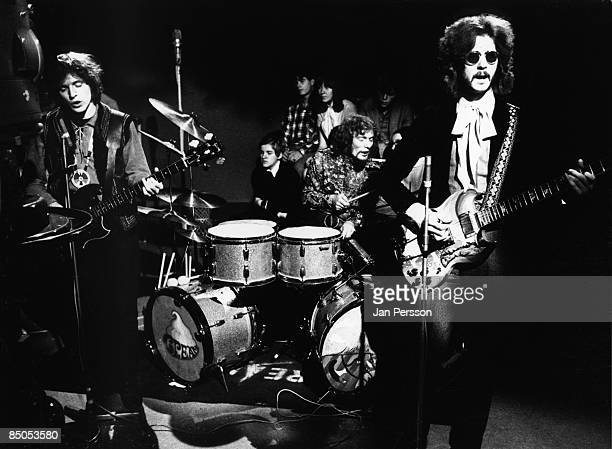 Photo of Jack BRUCE and Eric CLAPTON and CREAM and Ginger BAKER LR Jack Bruce Ginger Baker Eric Clapton performing on TV show