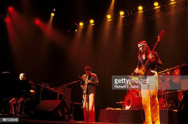 Photo of Jaco PASTORIUS and WEATHER REPORT; L-R: Joe Zawinul, Wayne Shorter, Jaco Pastorius - performing live onstage