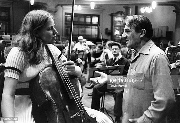 Photo of Jacqueline DU PRE and Sir John BARBIROLLI; Jacqueline Du Pre with conductor Sir John Barbirolli