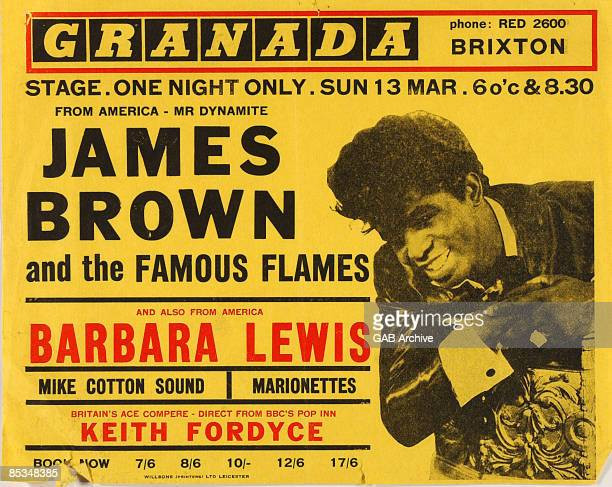Photo of James BROWN 1960's concert poster for show at Brixton Granada featuring Barbara Lewis and the Mike Cotton Sound