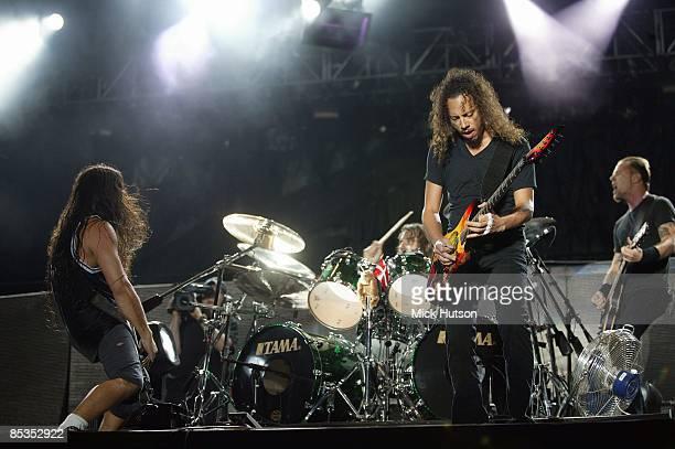 PARK Photo of James HETFIELD and METALLICA and Robert TRUJILLO and Dave LOMBARDO and Kirk HAMMETT LR Robert Trujillo Dave Lombardo Kirk Hammett James...