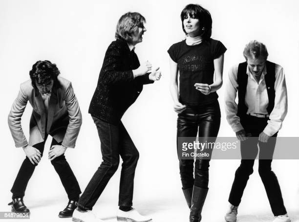 Photo of James HONEYMAN SCOTT and PRETENDERS and Chrissie HYNDE and Pete FARNDON LR Pete Farndon James Honeyman Scott Chrissie Hynde Martin Chambers