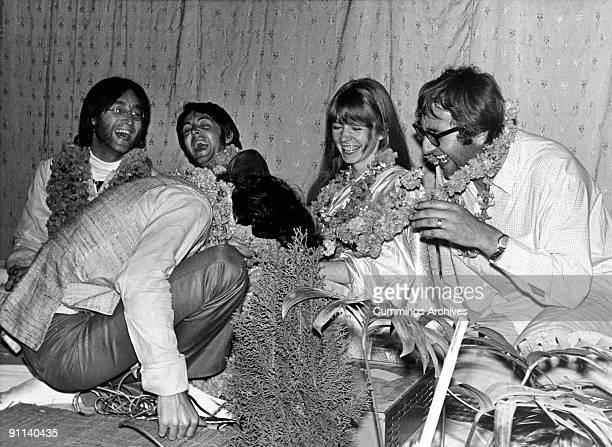 Photo of Jane ASHER and Mal EVANS and BEATLES LR John Lennon Paul McCartney George Harrison Jane Asher Mal Evans at a party to celebrate Harrison's...