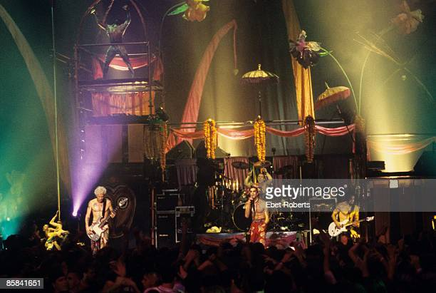 BALLROOM Photo of JANE'S ADDICTION and Perry FARRELL and Dave NAVARRO and FLEA and Stephen PERKINS Group performing on stage audience LR Flea Perry...