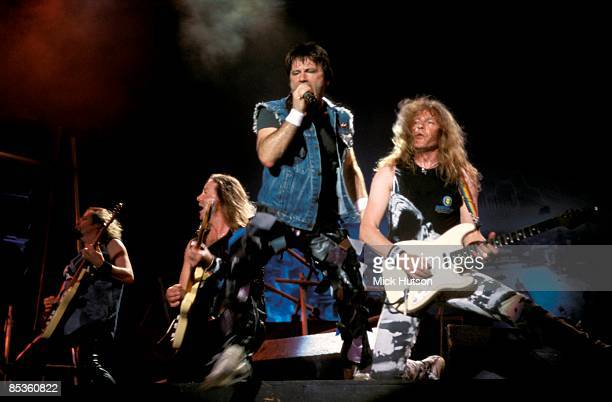 II Photo of Janick GERS and Bruce DICKINSON and IRON MAIDEN LR Adrian Smith Dave Murray Bruce Dickinson Janick Gers performing live onstage