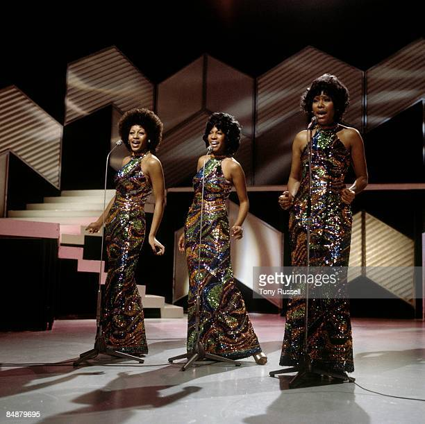 STUDIO Photo of Jean TERRELL and SUPREMES and Lynda LAURENCE and Mary WILSON LR Lynda Laurence Mary Wilson Jean Terrell group performing on BBC tv...