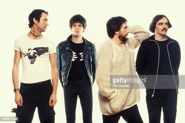 Photo of Jean-Jacques BURNEL and Dave GREENFIELD and STRANGLERS and Hugh CORNWELL and Jet BLACK; L-R: Hugh Cornwell, Jean-Jacques Burnel, Jet Black,...