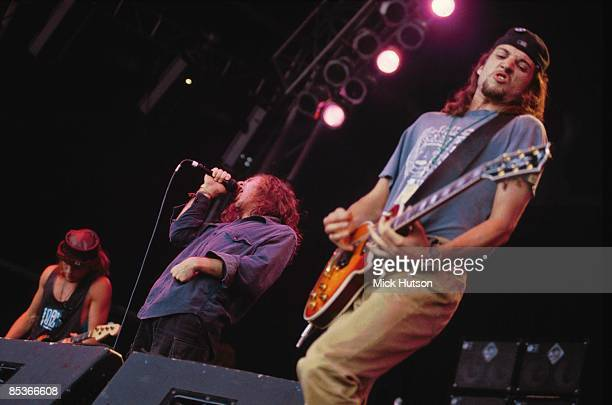 PARK Photo of Jeff AMENT and PEARL JAM and Eddie VEDDER and Stone GOSSARD LR Jeff Ament Eddie Vedder Stone Gossard performing live onstage