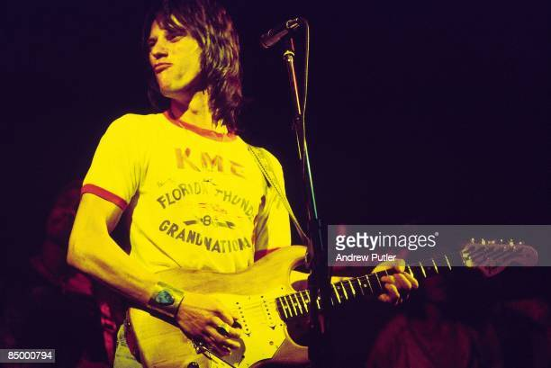 Photo of Jeff BECK; performing live onstage, playing Fender Stratocaster guitar