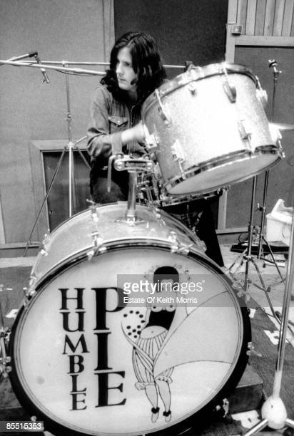 Photo of Jerry SHIRLEY and HUMBLE PIE Jerry Shirley recording at Olympic Studios playing drums