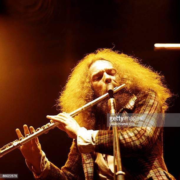 POOL Photo of JETHRO TULL and Ian ANDERSON Ian Anderson performing live onstage playing flute
