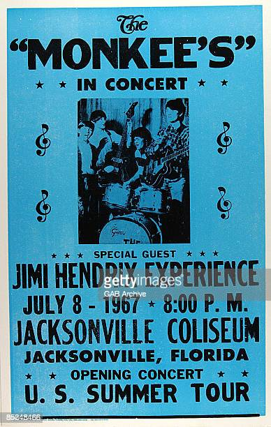 Photo of Jimi HENDRIX and CONCERT POSTERS and MONKEES Concert poster Jimi Hendrix's first US tour he was removed from the bill after a few dates