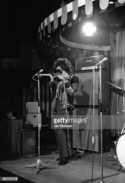 MARQUEE Photo of JIMI HENDRIX EXPERIENCE and Jimi HENDRIX with Jimi Hendrix Experience performing live onstage for German TV Show 'Beat Club' playing...