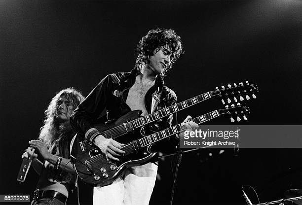 Photo of Jimmy PAGE and Robert PLANT and LED ZEPPELIN LR Robert Plant Jimmy Page performing live onstage