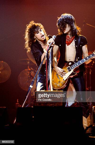 SUMMIT Photo of Joe PERRY and Steven TYLER and AEROSMITH Steven Tyler and Joe Perry performing live onstage