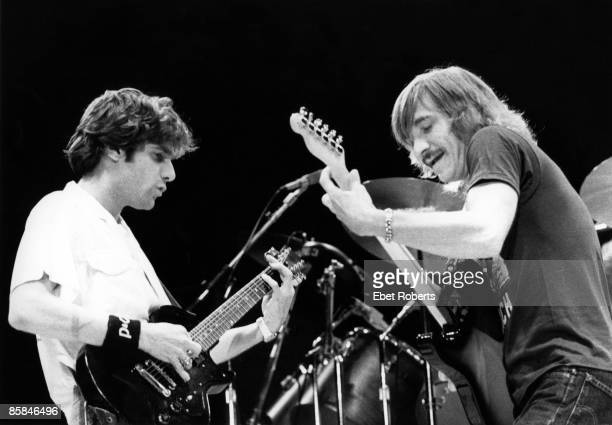 UNITED STATES JANUARY 01 Photo of Joe WALSH and Glen FREY and EAGLES LR Glen Frey Joe Walsh performing live onstage