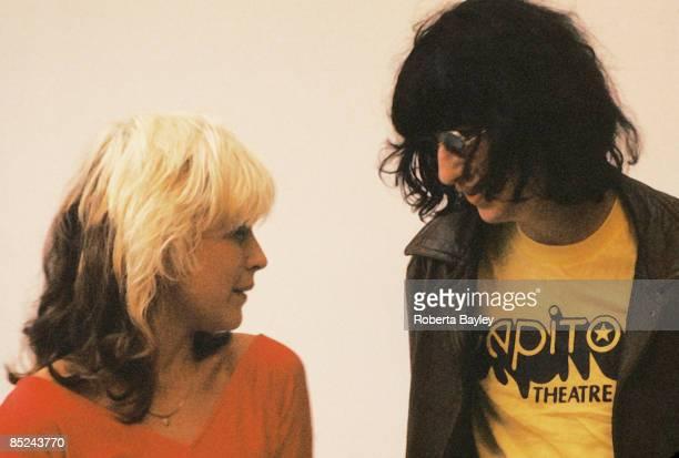 Photo of Joey RAMONE and BLONDIE and Debbie HARRY and RAMONES; Debbie Harry & Joey Ramone for Punk Magazine