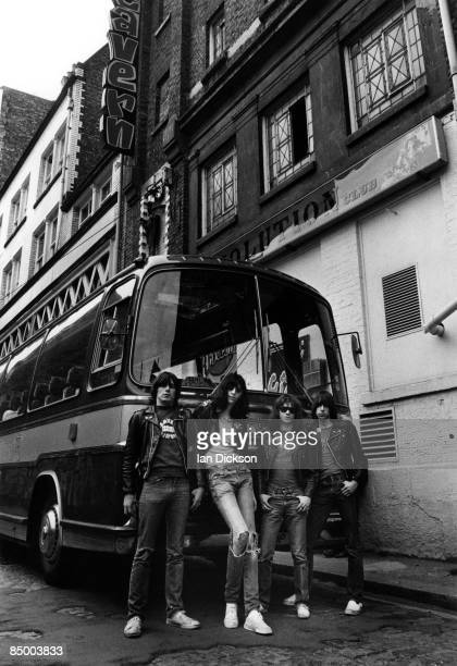 Photo of Joey RAMONE and RAMONES and Dee Dee RAMONE and Johnny RAMONE, L-R. Dee Dee Ramone, Joey Ramone, Tommy Ramone, Johnny Ramone