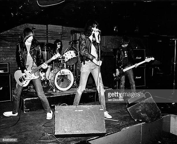 Photo of Joey RAMONE and RAMONES and Johnny RAMONE and Dee Dee RAMONE, L-R. Johnny Ramone, Tommy Ramone , Joey Ramone, Dee Dee Ramone