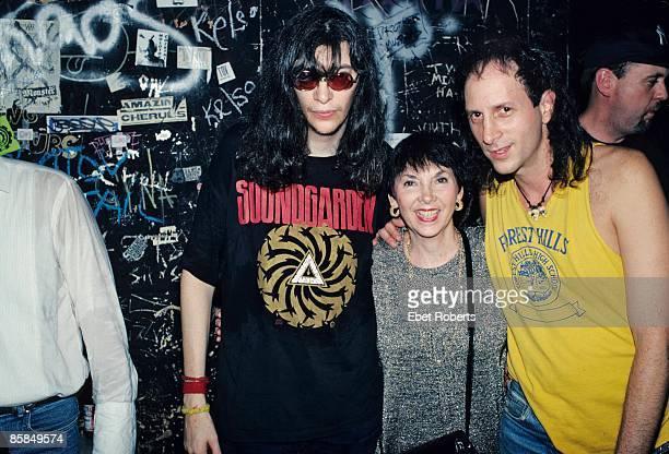 Photo of Joey RAMONE and RAMONES Joey Ramone w/ mother and brother Mickey Leigh