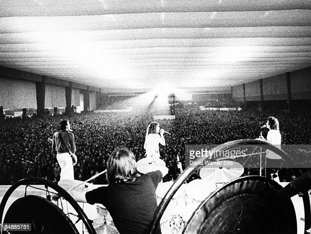 Photo of John ENTWISTLE and The Who and Pete TOWNSHEND and Roger DALTREY and Keith MOON Group shot playing live on stage at the Parc des Expositions...