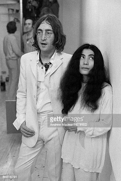 Photo of John LENNON and BEATLES and Yoko ONO John Lennon with Yoko Ono at the opening of John's You Are Here exhibition at the Robert Fraser Gallery...