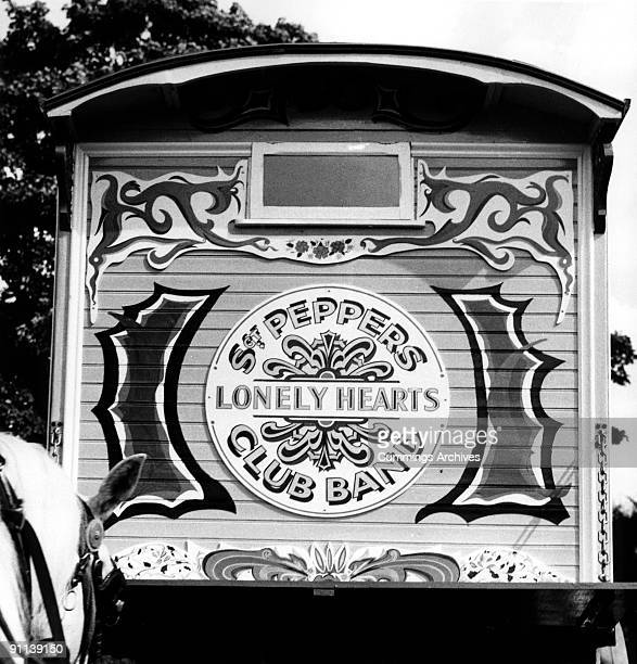 Photo of John LENNON Gypsy Caravan a birthday present for Julian Lennon being delivered to John's house in Weybridge