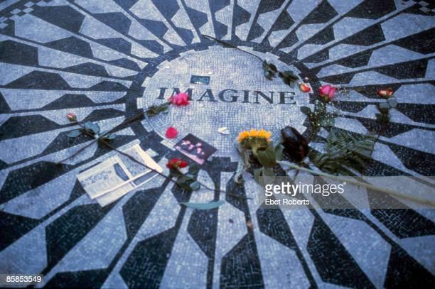UNITED STATES JANUARY 01 CENTRAL PARK Photo of John LENNON John Lennon Imagine memorial at Strawberry Fields in Central Park
